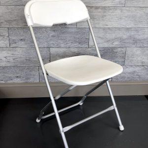 White Vinyl Chair with Aluminum Frame